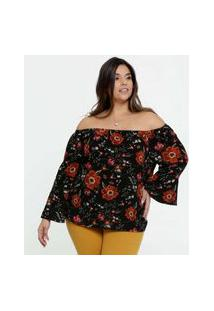 Blusa Feminina Ombro A Ombro Floral Plus Size Marisa