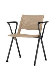 Cadeira Up Com Bracos Assento Bege Base Fixa Preta - 54319 Bege
