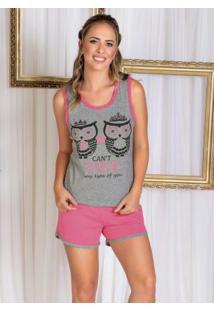 Pijama Mescla E Rosa Com Estampa Frontal