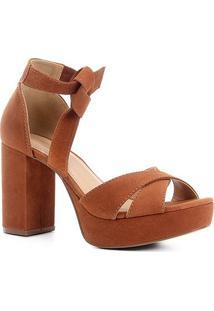 Sandália Couro Shoestock Meia Pata Nobuck Feminina - Feminino-Caramelo