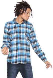 Camisa Hurley Reta Plaid Azul/Off-White