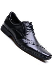 Sapato Social Couro Amarração Calvest Masculino. - Masculino-Preto