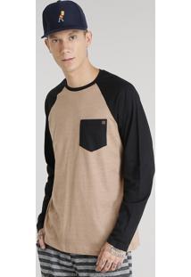 Camiseta Masculina Com Bolso Manga Longa Raglan Gola Careca Marrom