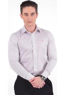 Camisa Social Listrada Masculina - Slim - Masculino-Branco