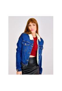 Jaqueta Jeans Toneh Forrada Pelos Azul Azul