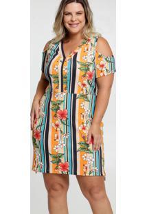 Vestido Feminino Open Shoulder Estampa Tropical Plus Size