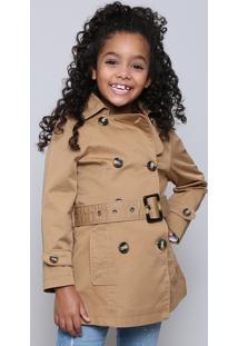 Casaco Trench Coat Infantil Com Bolsos Caramelo