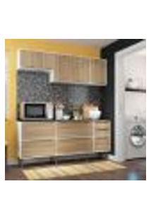 Cozinha Compacta Trevalla Móveis New Paris 8 Portas 3 Gavetas Bco/Argila