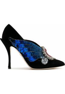 Dolce & Gabbana Scarpin Em Veludo Com Aplicações - Preto