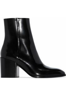 Aeyde Ankle Boot Leandra De Couro Com Salto 75Mm - Preto