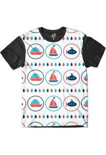 Camiseta Long Beach Náutica Embarcações Sublimada Masculina - Masculino-Branco+Preto