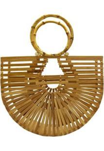 Bolsa De Madeira Bambu Design Vazado Similar A Cult Gaia Com Alça Pequena Feminina - Feminino-Bege