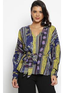 Blusa Com Amarraã§Ã£O- Verde & Azul Marinho- Wool Linewool Line