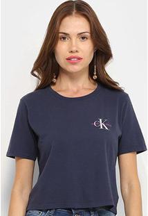 Blusa Calvin Klein Básica Feminina - Feminino-Marinho