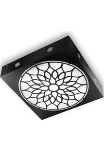 Plafon Quadrado Árabe Preto 6000K Luz Branca
