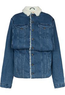 Y/Project Jaqueta Jeans Com Acabamento De Pele - Azul