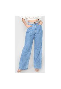 Calça Jeans Colcci Pantalona Pregas Azul