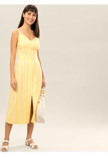 Vestido Mídi Listrado Fenda Amarelo Caramelo - Lez A Lez