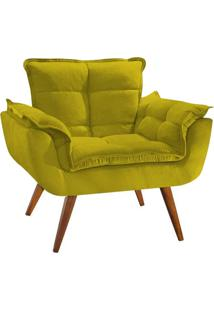 Poltrona Decorativa Opala Deluxe Suede Amarelo