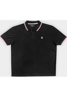 Camisa Polo Broken Rules Plus Size Bordado Masculina - Masculino-Preto