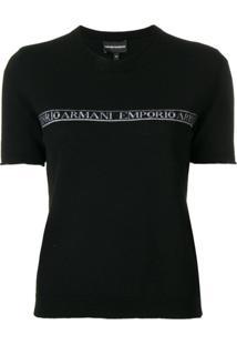 Emporio Armani Blusa De Lã Com Logo - Preto