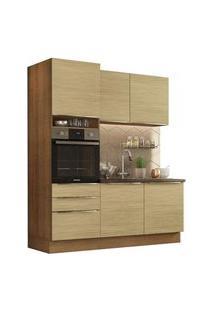 Cozinha Compacta Madesa Lux Com Armário E Balcão 5 Portas 3 Gavetas Rustic/Carvalho Rustic