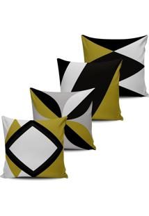 Kit 4 Capas Almofadas Decorativas Abstrata Mostarda 45X45Cm - Tricae