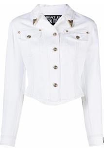 Versace Jeans Couture Jaqueta Jeans Com Logo Gravado - Branco