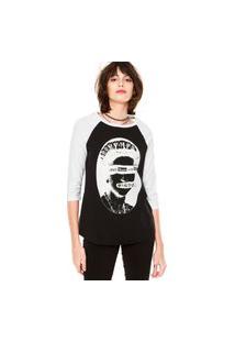 Camiseta Mary Jane Raglan Manga ¾ Preta/Branca