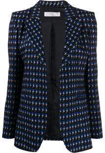 Victoria Beckham Blazer Com Abotoamento Simples De Tricô - Azul
