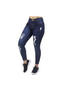 Calça Jeans Cropped Feminina Destroyed No Alcance