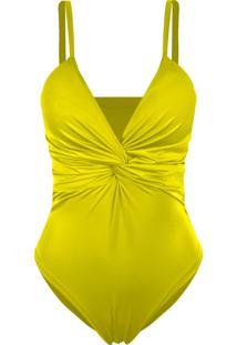 Body Outlet Dri Liso Básico Alcinha Poliamida Trançado Frontal Amarelo