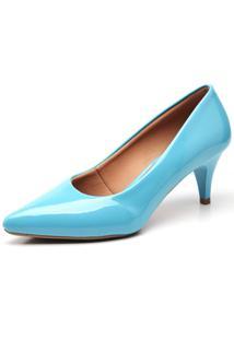 Scarpin Ellas Online Salto Baixo Azul