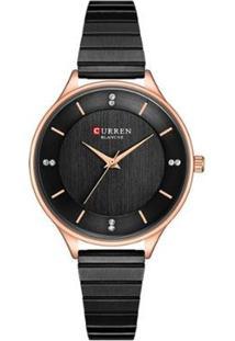 Relógio Curren Analógico C9041L Feminino - Feminino-Preto