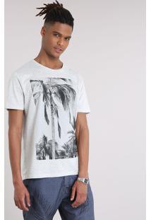 Camiseta Masculina Com Estampa De Coqueiros Manga Curta Gola Careca Cinza Mescla Escuro