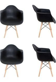 Kit 4 Cadeiras Eiffel Melbourne Preta Com Pés Palito Em Madeira - Mp Decor