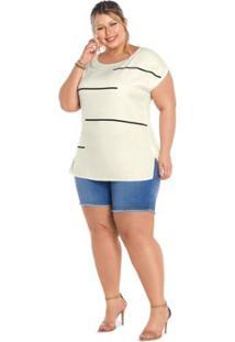 Blusa Alongada Secret Feminina - Feminino-Branco