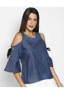 Blusa Jeans Com Vazados- Azul Escuro- Thiptonthipton