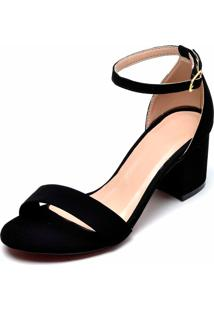 Sandália Salto Grosso Baixo Bellatrix Preta