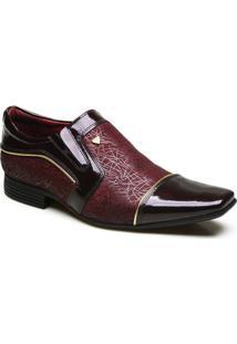 Sapato Social Em Couro Com Verniz Calvest - Masculino-Bordô
