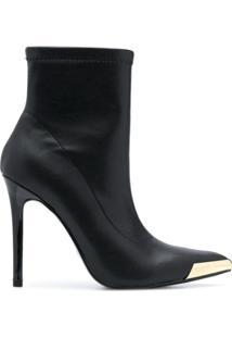 Versace Jeans Couture Ankle Boot Com Salto Agulha - Preto