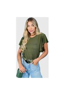 T-Shirt Babado Verde Militar