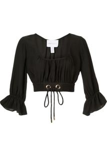 Alice Mccall Gathered Cropped Blouse - Preto