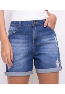 Bermuda Jeans Boyfriend Com Barra Dobrada