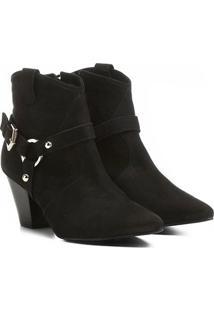 Bota Couro Country Shoestock Salto Selaria Feminina - Feminino-Preto