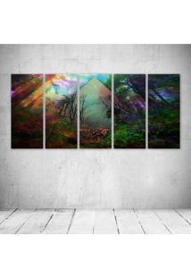 Quadro Decorativo - Abstraction Line Color Forest Trees - Composto De 5 Quadros - Multicolorido - Dafiti