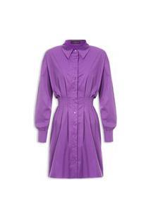 Vestido Tricoline Com Pregas - Roxo