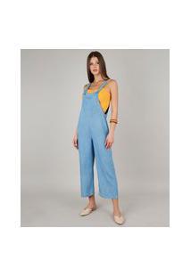 Macacão Jeans Feminino Amplo Com Bolso Alças Largas Azul Claro