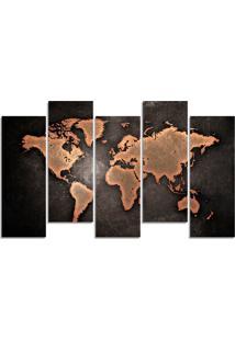 Quadro Decorativo Para Sala Quarto Mapa Mundi - Multicolorido - Dafiti