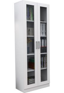 Armário Para Escritório Com Portas De Vidro Office Plus Appunto - Branco